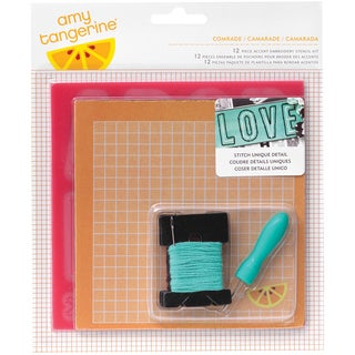 Amy Tan Stitched 12 Piece Embroidery Stencil Kit-Comrade