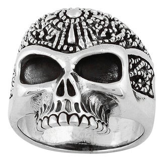 HellFire Sterling Silver Road Knight Skull Ring