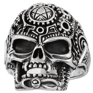 Hellfire Sterling Silver Wicca Pentagram Occult Skull Ring