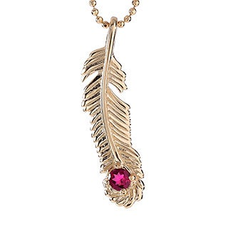 18k Gold-plated Sterling Silver Rhodolite Garnet January Birthstone Feather Necklace