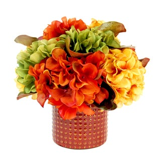 Fall Hydrangea Bouquet with Ceramic Pot