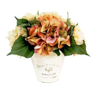 Mixed Silk Hydrangea Planter in Cream Clay Pot