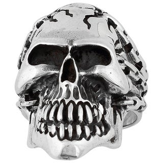 Hellfire Sterling Silver Prisoner of Anarchy Skull Ring
