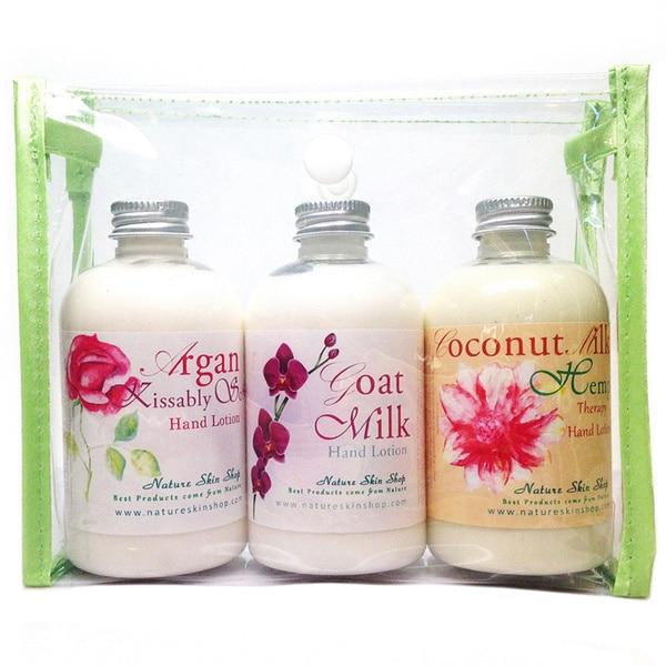 Handmade Argan Kissably Soft, Goat Milk and Coconut Hemp Hand Lotion Gift Set (USA)