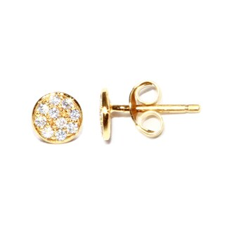 Gold over Sterling Silver Round Circle Cubic Zirconia Stud Earrings with Post Backs and Butterfly Clasps