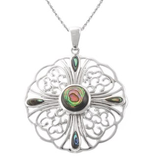 Sterling Silver Filigree Motif Flower Pendant Necklace with Abalone Teardrop and Circle Center Accents on an 18-inch Chain
