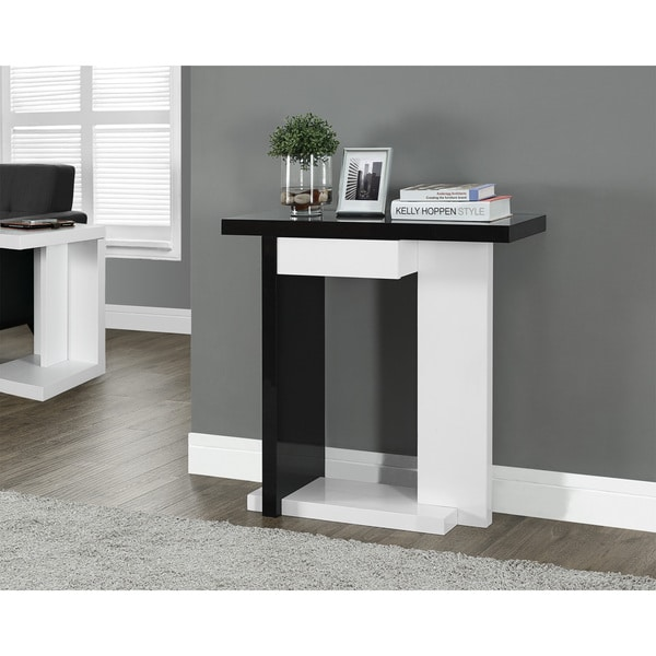 Gloss White Black Hall Console Accent Table Free Shipping Today