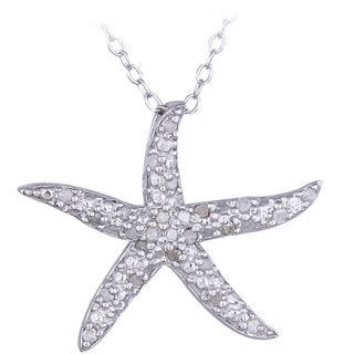 DB Designs Sterling Silver 1/8ct TDW Diamond Starfish Necklace (I-J, I2-I3)
