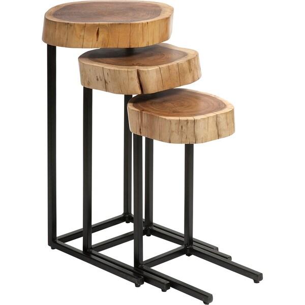 Nadera wood and iron nesting tables set of free