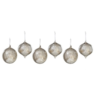 Sage & Co 6-inch Iced Glass Onion Ball Ornaments (Pack of 6)