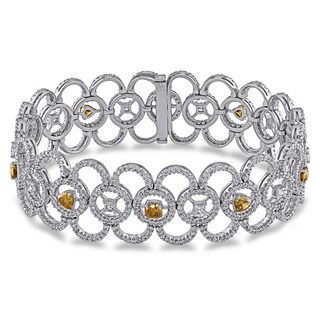 Miadora Signature Collection 18k White Gold 8 1/3ct TDW Fancy Color Diamond Bracelet