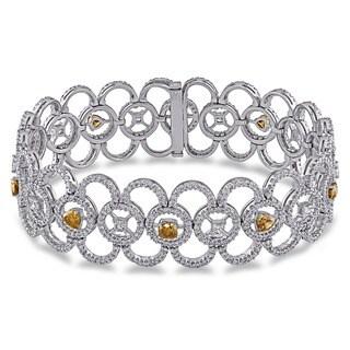 Miadora Signature Collection 18k White Gold 8 1/3ct TDW Fancy Color Diamond Bracelet