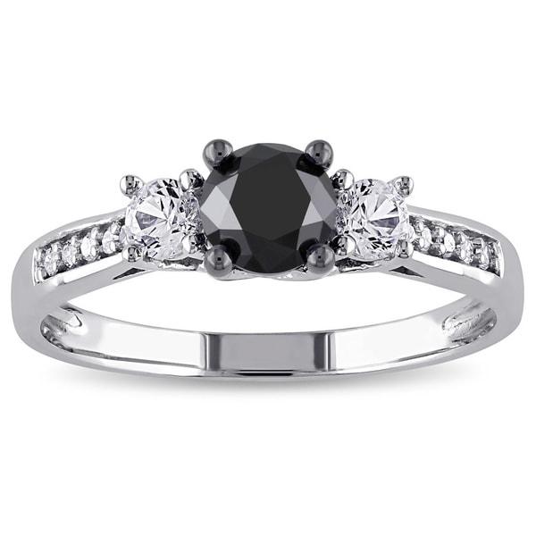 Miadora 10k White Gold 4/5ct TDW Diamond and Created White Sapphire Ring