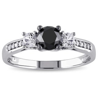 Miadora 10k White Gold 4/5ct TDW Diamond and Created White Sapphire Ring