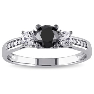 Miadora 10k White Gold 4/5ct TDW Diamond and Created White Sapphire Ring (H-I, I2-I3)