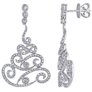 Miadora Signature Collection 18k White Gold 1 1/3ct TDW Diamond Chandelier Earrings (G-H, SI1-SI2)