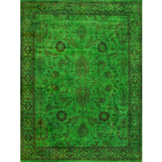 Hand-Knotted Vibrant Overdyed Green Wool Rug (6' x 9')