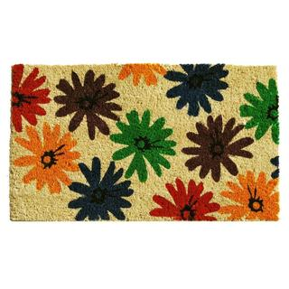 Colorful Daisies Coir with Vinyl Backing Doormat (1'5 x 2'5)