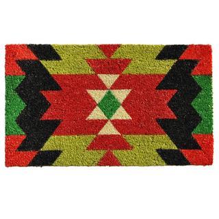 Aztec Graphic Coir with Vinyl Backing Doormat (1'5 x 2'5)