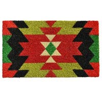 Aztec Graphic Coir with Vinyl Backing Doormat (1'5 x 2'5)