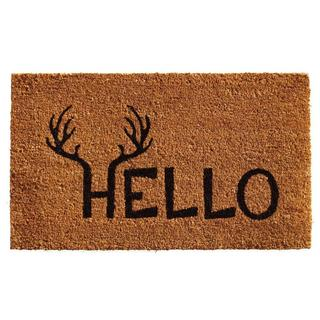 Antler Hello Coir with Vinyl Backing Doormat (2' x 3')