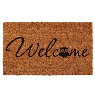 Barn Owl Welcome Coir with Vinyl Backing Doormat (1'5 x 2'5)