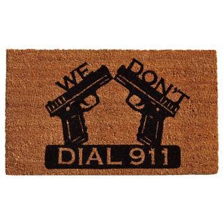 Dial 911 Coir with Vinyl Backing Doormat (1'5 x 2'5)