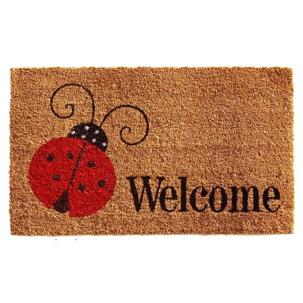Ladybug Welcome Coir with Vinyl Backing Doormat (1'5 x 2'5)
