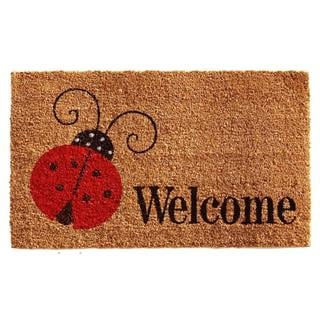 Ladybug Welcome Coir with Vinyl Backing Doormat (1'5 x 2'5)