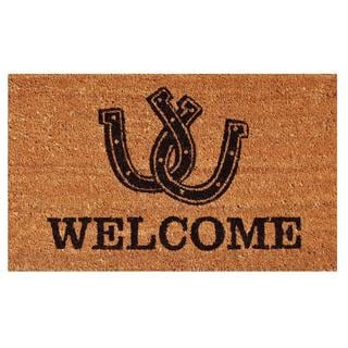 Horseshoe Welcome Coir with Vinyl Backing Doormat (1'5 x 2'5)