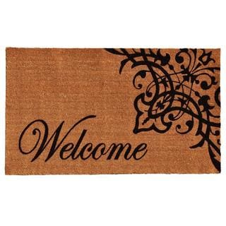 Scroll Welcome Coir with Vinyl Backing Doormat (1'5 x 2'5)