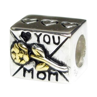 Queenberry Sterling Silver 'Love You Mom' European Bead Charm