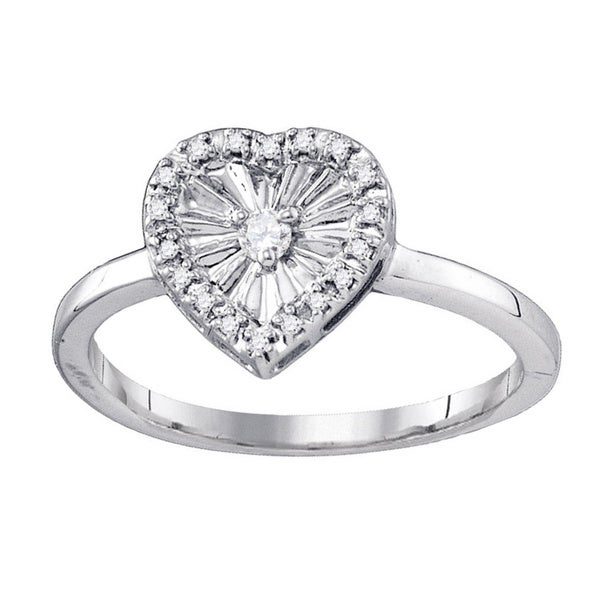 5f0be6ecac1 Shop White Goldplated Sterling Silver 1/10Ct TDW Diamond Heart Love ...