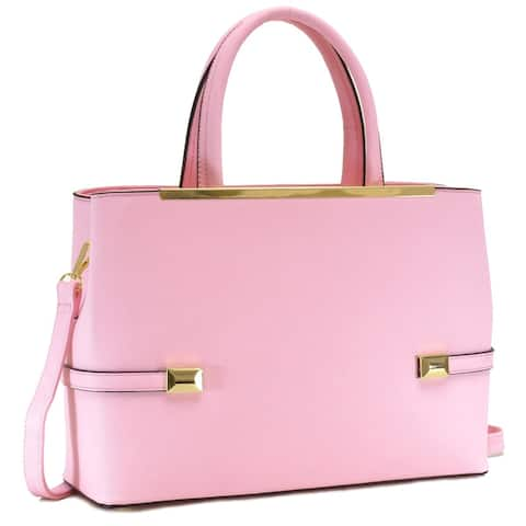 Dasein Goldtone Framed Faux Leather Fashion Tote Bag