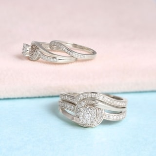De Couer 10k White Gold Diamond Composite Bridal Sets (H-I, I2)