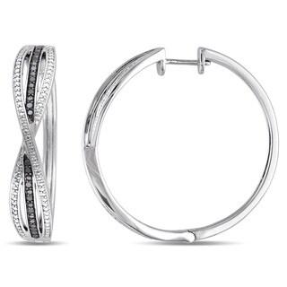 Miadora Sterling Silver 1/3ct TDW Black Diamond Infinity Hoop Earrings
