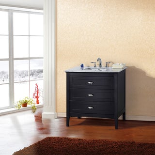 36-inch Single Sink Espresso Vanity - White Marble