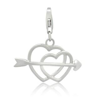 Gioelli Sterling Silver Cupid's Arrow Double Heart Charm