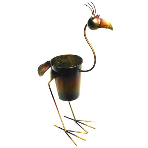 D-Art Collection Iron Standing Rooster Planter Decor