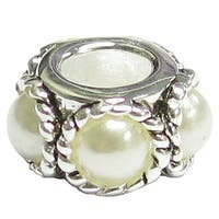 Queenberry Sterling Silver Twist Rope White Pearl European Bead Charm