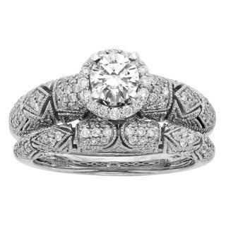 Sofia Art Deco 14k White Gold 1ct TDW Round Diamond Bridal Set (H-I, I1-I2)
