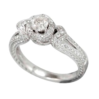 Suzy Levian 18k White Gold .788ct TDW Diamond Halo Engagement Ring