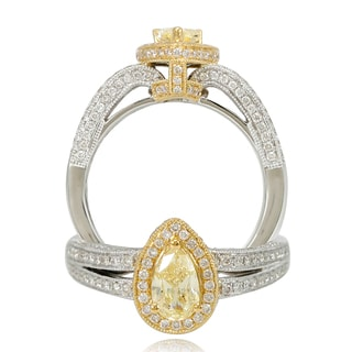 Suzy Levian 18k Two-Tone Gold 1.28ct TDW Pear Cut Diamond Halo Ring