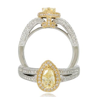 Suzy Levian 18k Two-Tone Gold 1.28ct TDW Pear Cut Diamond Halo Ring|https://ak1.ostkcdn.com/images/products/9663106/P16844709.jpg?impolicy=medium