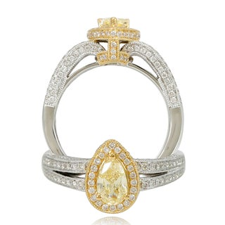 Suzy Levian 18k Two-Tone Gold 1.28ct TDW Pear Cut Diamond Halo Ring (3 options available)