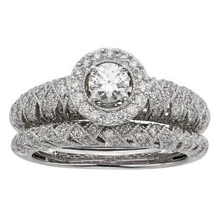 Sofia Art Deco 14k White Gold 1ct TDW Diamond Bridal Set (H-I, I1-I2)