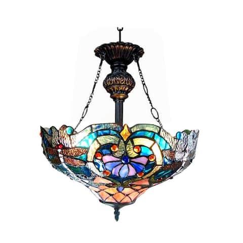 Tiffany-style Dragonfly 2-light Bronze Inverted Pendant