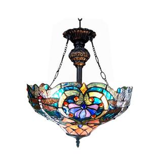 Chloe Tiffany Style Victorian/ Dragonfly Design Bronze 2-light Inverted Pendant