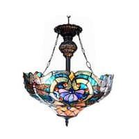 Chloe Tiffany Style Victorian/Dragonfly Design 2-light Bronze Inverted Pendant