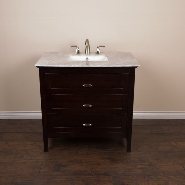 shop 36 inch single sink vanity with sable walnut finish white carrara marble free shipping. Black Bedroom Furniture Sets. Home Design Ideas